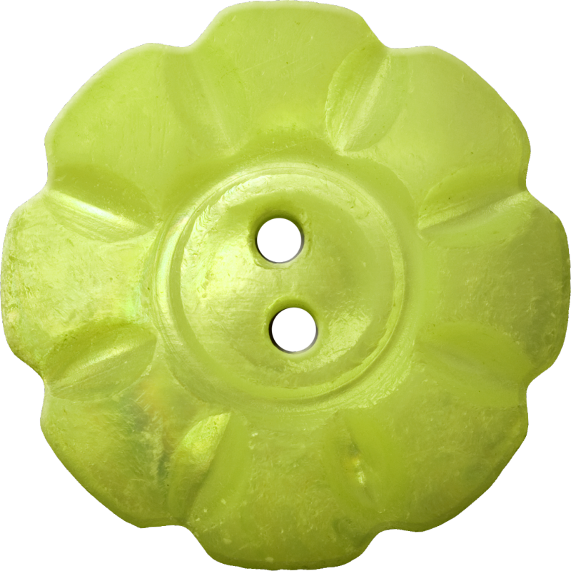 Floral Button with Eight Squarish Petals, Yellow-Green