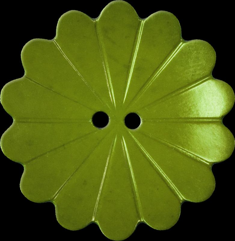 Floral Button with Fourteen Petals, Avocado
