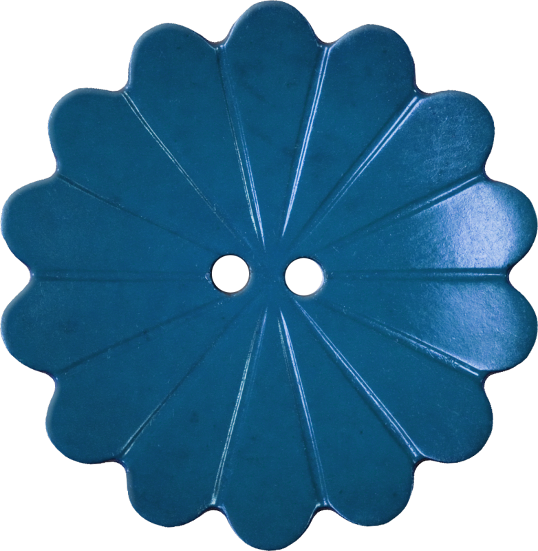 Floral Button with Fourteen Petals, Blue