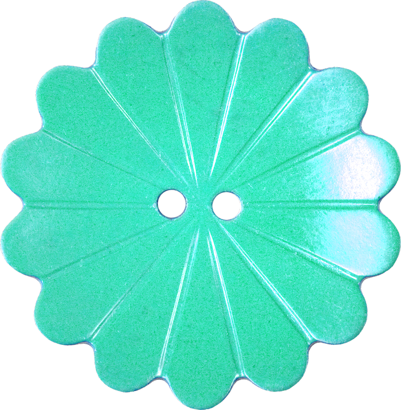 Floral Button with Fourteen Petals, Light Turquoise