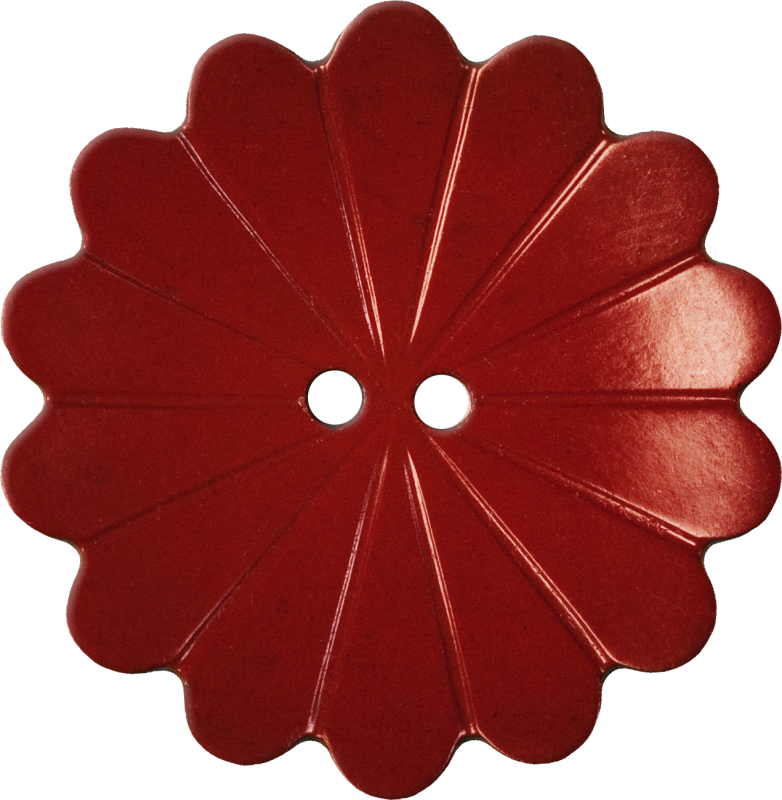 Floral Button with Fourteen Petals, Red