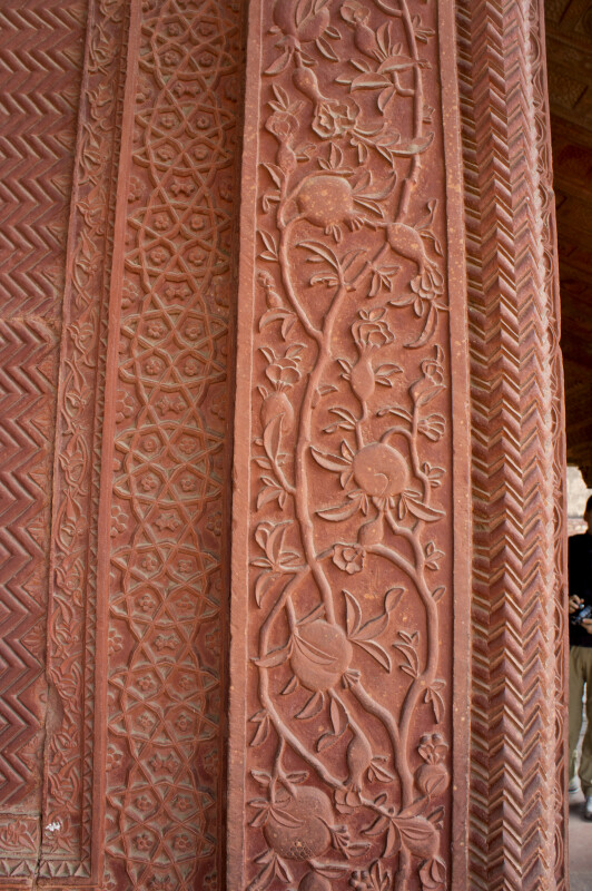 Floral Designs in Red Sand Stone