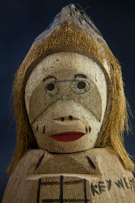 Florida Hand Carved Coconut Figure with Wire Glasses (Close Up)