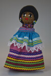 Florida Seminole Indian Doll Made from Palmetto Fiber Wearing Bright Dress with Rick Rack (Full View)