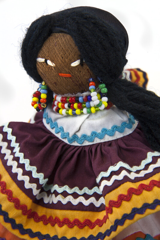 Florida Seminole Indian Doll with Colorful Beaded Necklace and Earrings (Close Up)