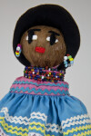 Florida Seminole Indian Woman with Beaded Necklaces, Beaded Earrings, and Embroidered Face (Close Up)