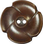 Flower Button with Four Petals, Brown
