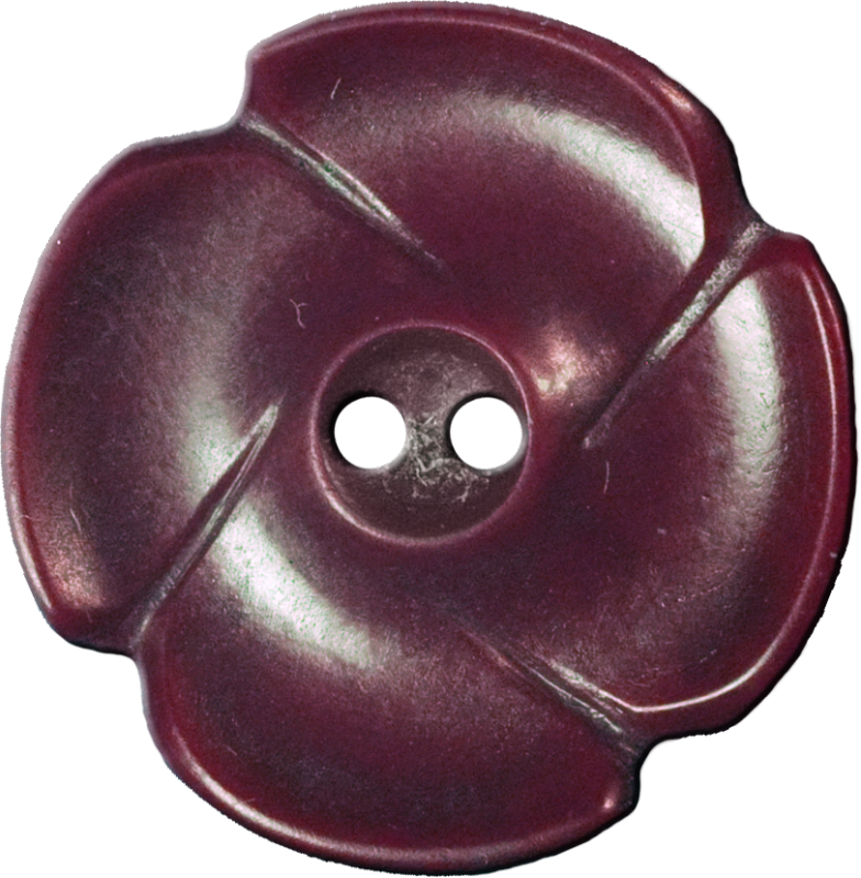 Flower Button with Four Petals, Maroon