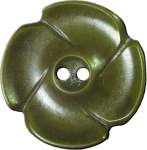 Flower Button with Four Petals, Olive Green