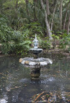 Flowing Fountain in Center of Small Pond