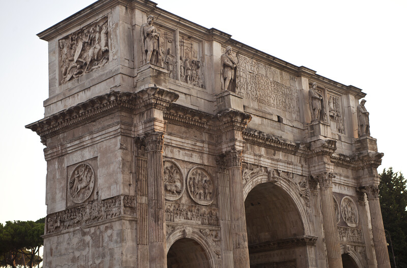 Focus on the Top Half of the Arch of Constantine