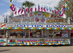 Food Stand Selling Cotton Candy, Candy Apples, & Popcorn