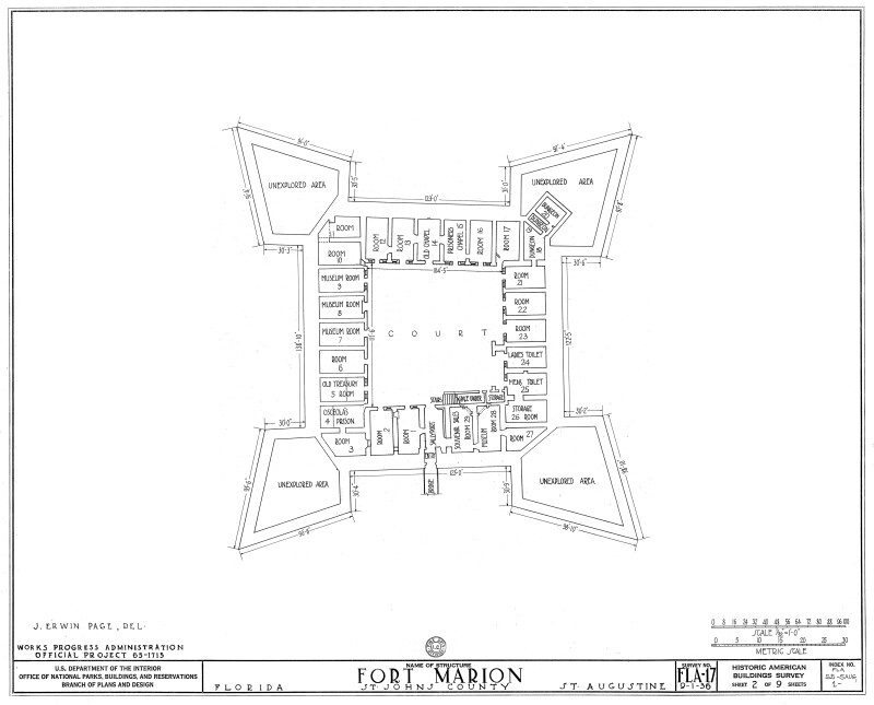 Fort Marion (Castillo de San Marcos) Plan Drawing of Ground Floor, 1936