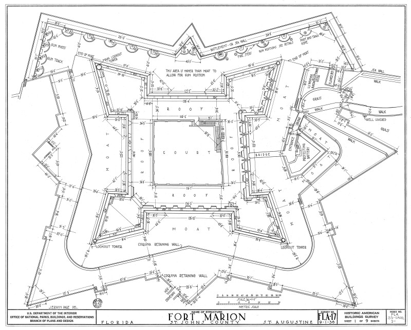 Fort Marion (Castillo de San Marcos) Plan View of Fort and Fortifications, 1936