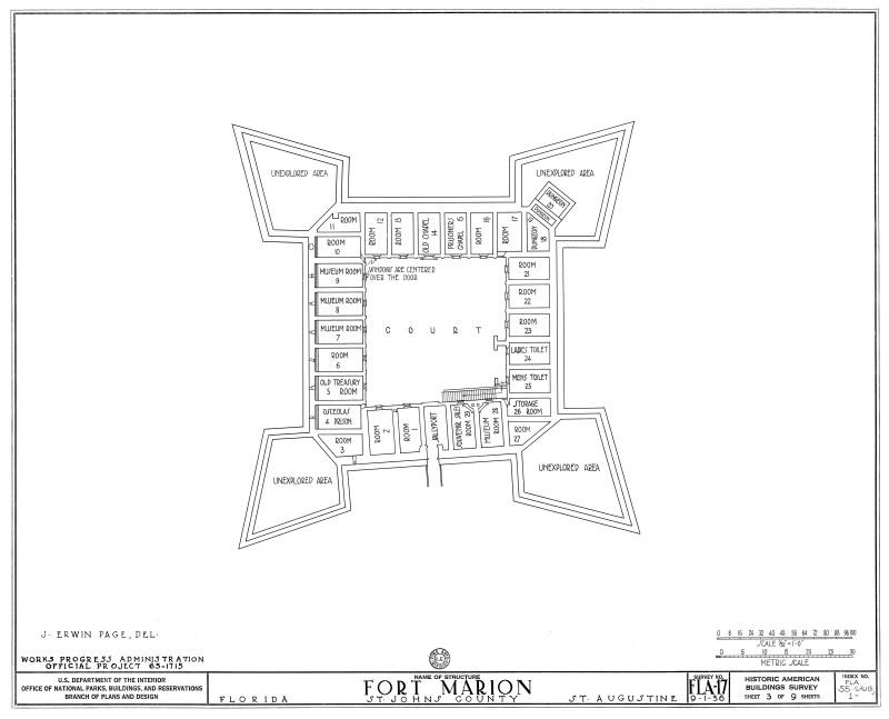 Fort Marion (Castillo de San Marcos) Plan View of Ground Floor, 1933