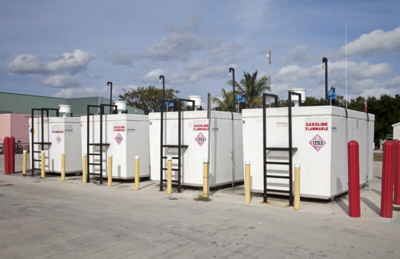 Four Gasoline Tanks at the Flamingo Marina of Everglades National Park