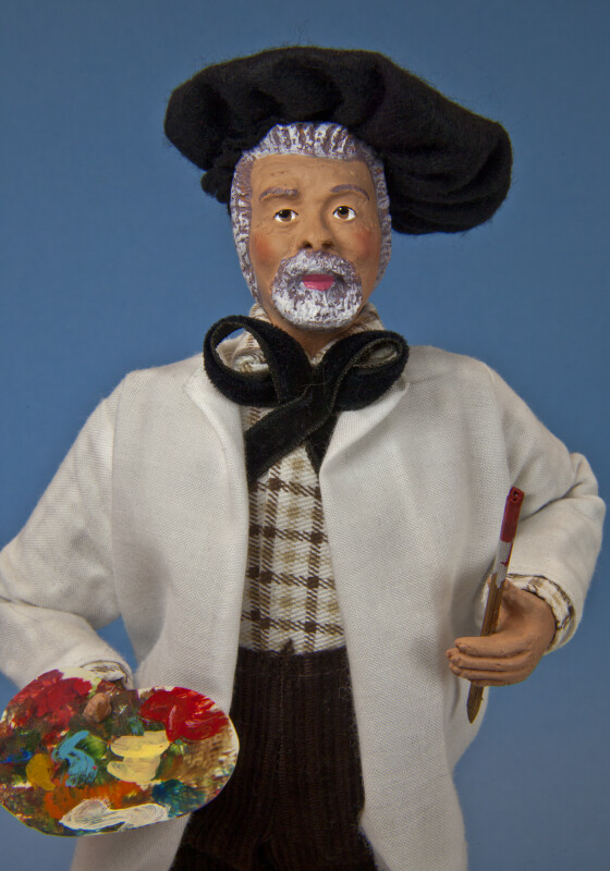 France Hand Painted Male Artist with Hand Painted Face and Large Felt Beret (Close Up)