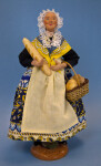 France Santon de Provence Woman with Baguette and Bread Basket (Full View)