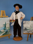 France Santon French Artist with Brush, Pallet, and Canvas (Full View)