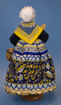 France Terra Cotta Doll Wearing Long Print Skirt, Shawl, and Lace Cap (Back View)