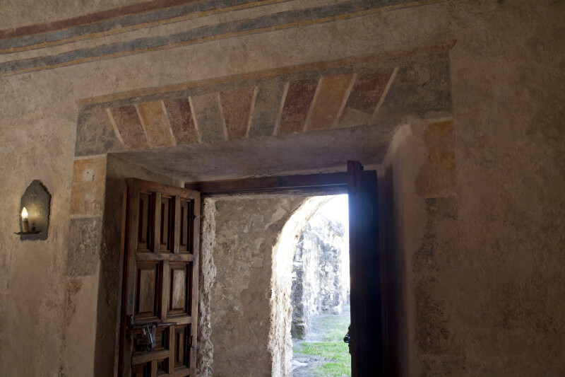 Fresco and Open Door at Mission Concepción