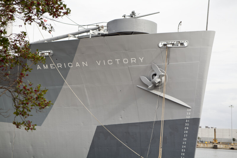Front of a Ship Named American Victory
