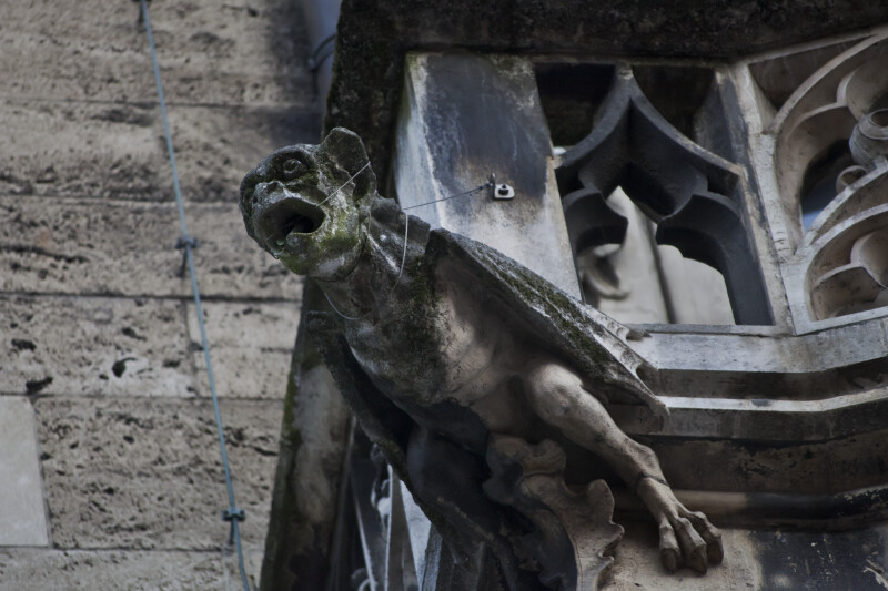 Front View of Gargoyle Sculpture at New Town Hall