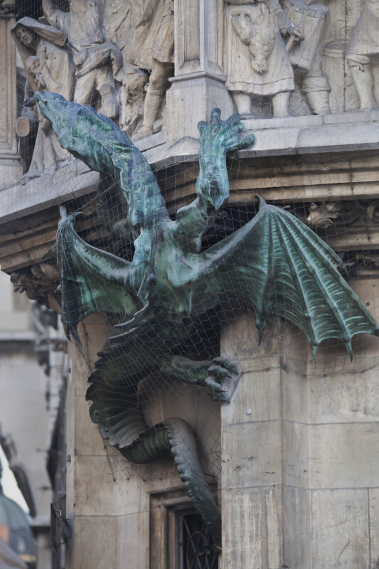 Full View of Green Dragon Sculpture
