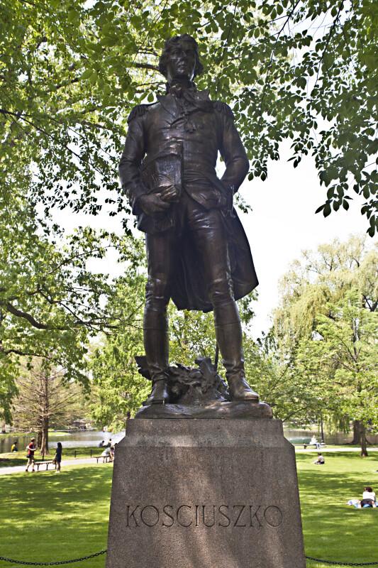 Full View of the Tadeusz Kościuszko Statue at the Boston Public Garden