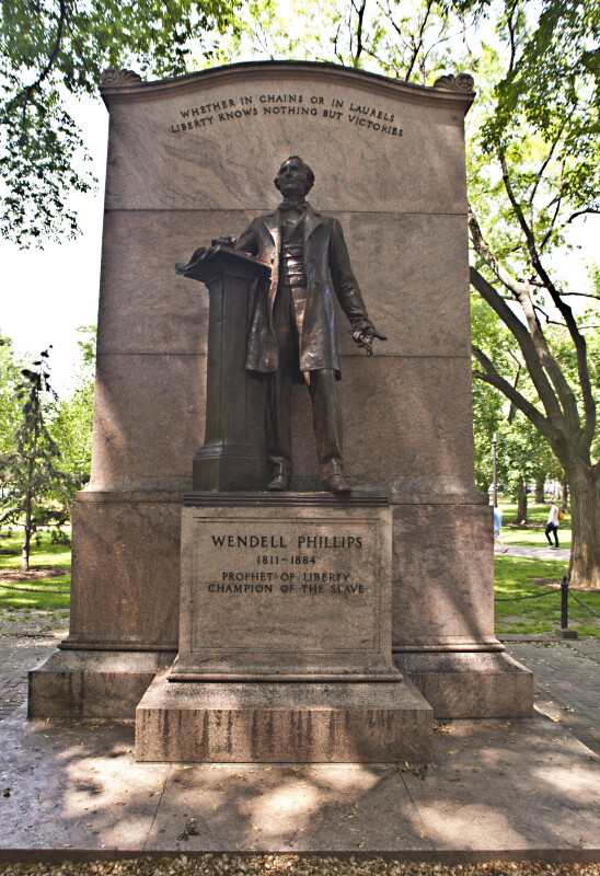 Full View of the Wendell Phillips Statue at the Boston Public Garden