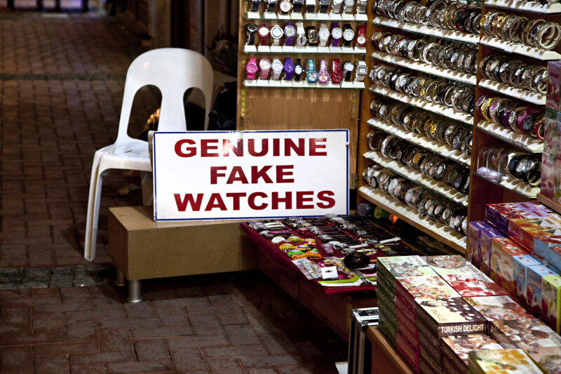 Genuine Fake Watches Sign in Kusadasi, Turkey.