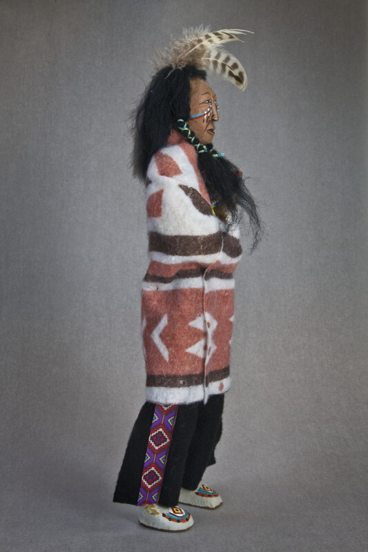 Georgia Cherokee Native American Doll with Indian Blanket and Peace Pipe (Side View)