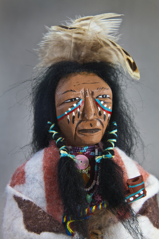 Georgia Male Indian with Feathers, War Paint, and Beaded Necklace (Close Up)