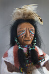 Georgia Male Indian Doll with Feathers, War Paint, and Beaded Necklace (Close Up)