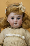 Germany, Antique Doll Made by Armand Marseille with Bisque Head and Jointed Wood Body (Close Up)