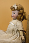 Germany, Antique Doll with Bisque Head, Glass Eyes, Jointed Wood Body, and Removable Wig (Profile)
