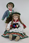 Germany Bavarian Boy and Girl Dolls Dressed in Folk Costumes and Hats (Full View)