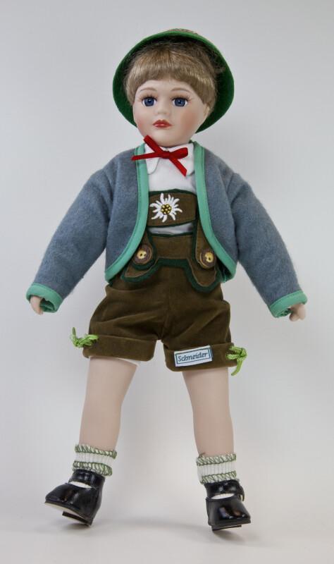 Germany Bavarian Boy Doll Dressed in Traditional Costume Including Lederhosen (Full View)