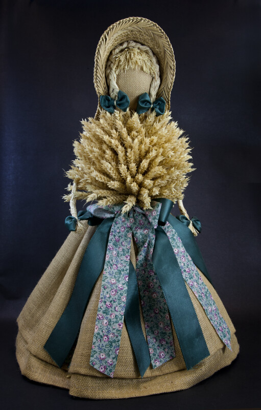 Germany Handcrafted Doll Made with Straw, Wheat, and Burlap (Full View)