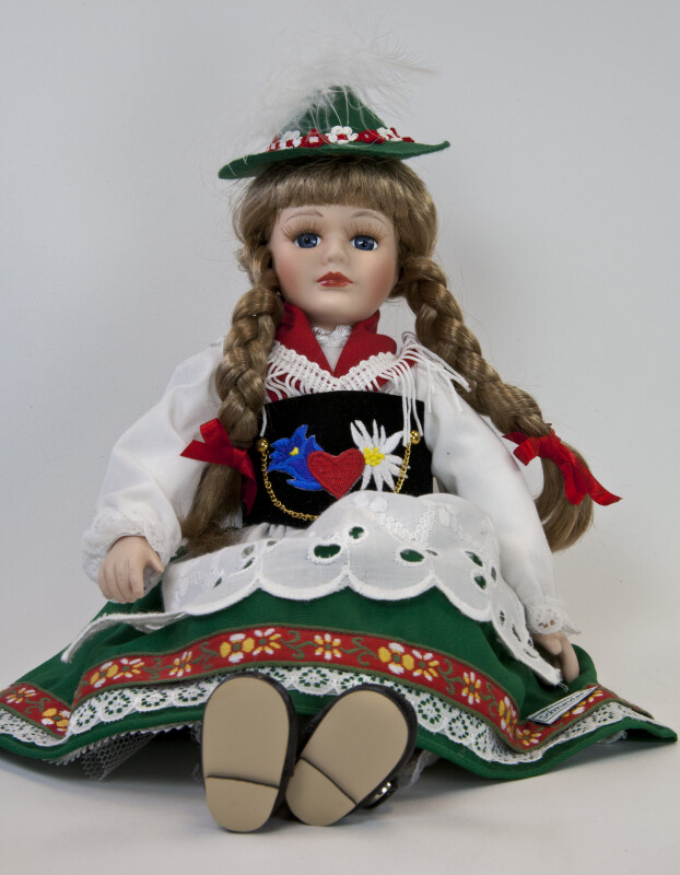 Germany Porcelain Schneider Girl Wearing Traditional Dress, Apron, Hat, and Shawl  (Full View)