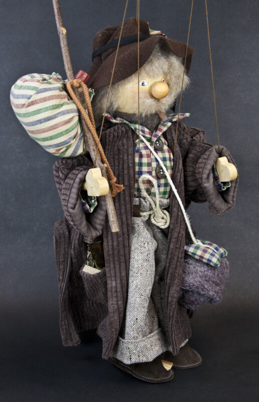 Germany Vagrant Man Marionette Hand Made with Wood (Three Quarter View)