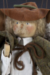 Germany Wood Marionette of Alpine Bird Seller Wearing Wool Cloak and Suede Hat (Close Up)