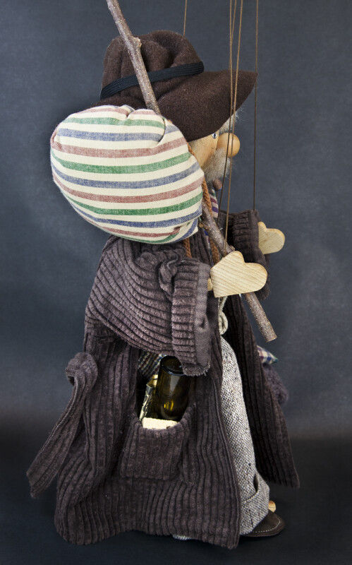 Germany Wooden Marionette with Knapsack and Bedroll (Profile