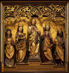Gilded Sculpture of Christ Surrounded by Four Figures