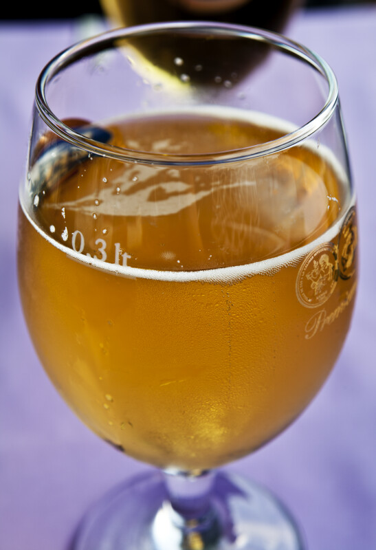 Glass Filled with 0.3 Liters of Beer