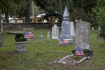 Grave Markers with American Flags