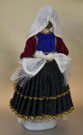 Greece Ceramic Doll Dressed in Pleated Skirt and Velvet Apron (Back View)