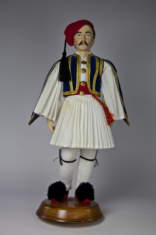 Greece Ceramic Male Doll by Evelt Themis in Grecian Traditional Costume (Full View)