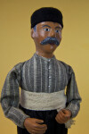 Greece Ceramic Man with Painted Mustache and Black Felt Hat (Close Up)