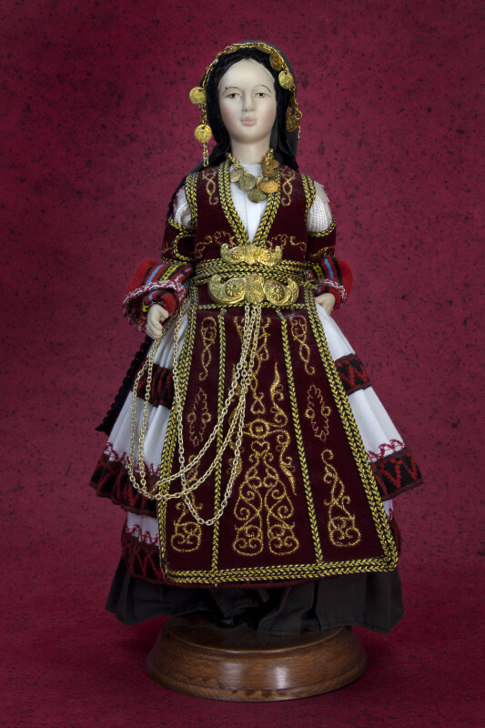 Greece Female Doll in Traditional Costume of the Trikala and Karditsa Areas (Full View)